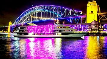 Experience Vivid Sydney on a harbour Vivid cruise